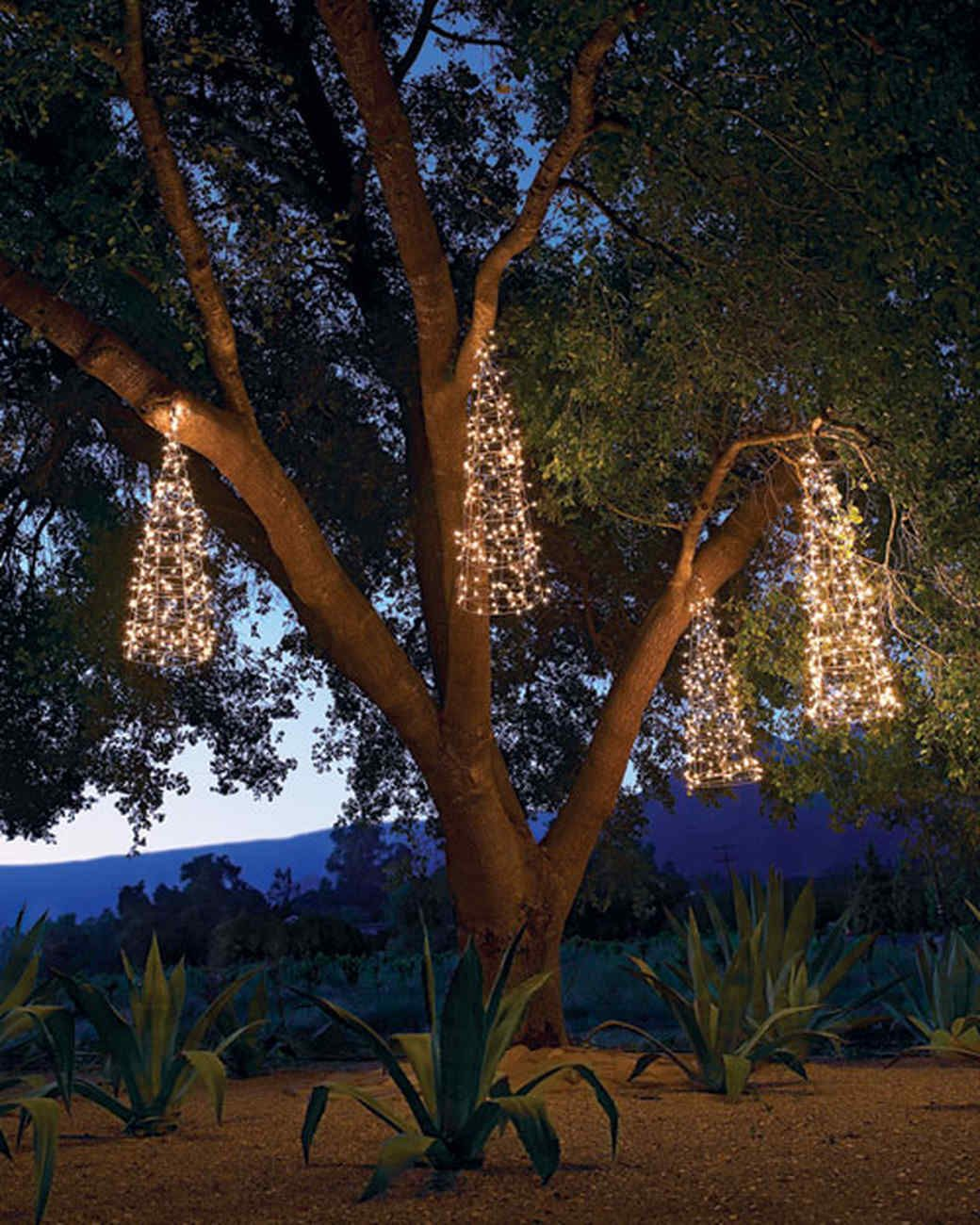 hanging trees christmas lights ideas martha stewart living these conical christmas trees are crafted from tomato cages