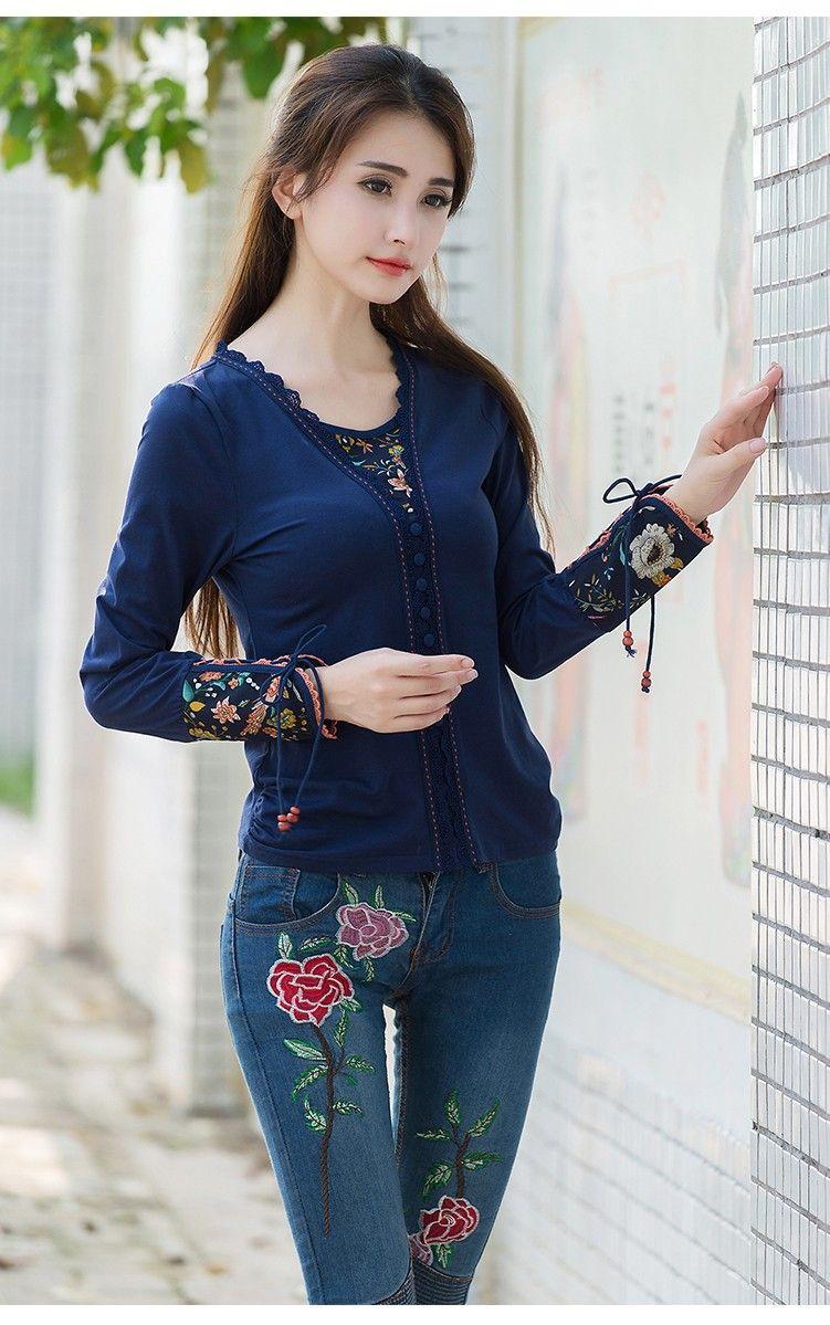Women 2016 M-3XL size blusa vintage dark blue embroidery t-shirt Mexico style elegant ethnic long sleeve v neck t shirt top