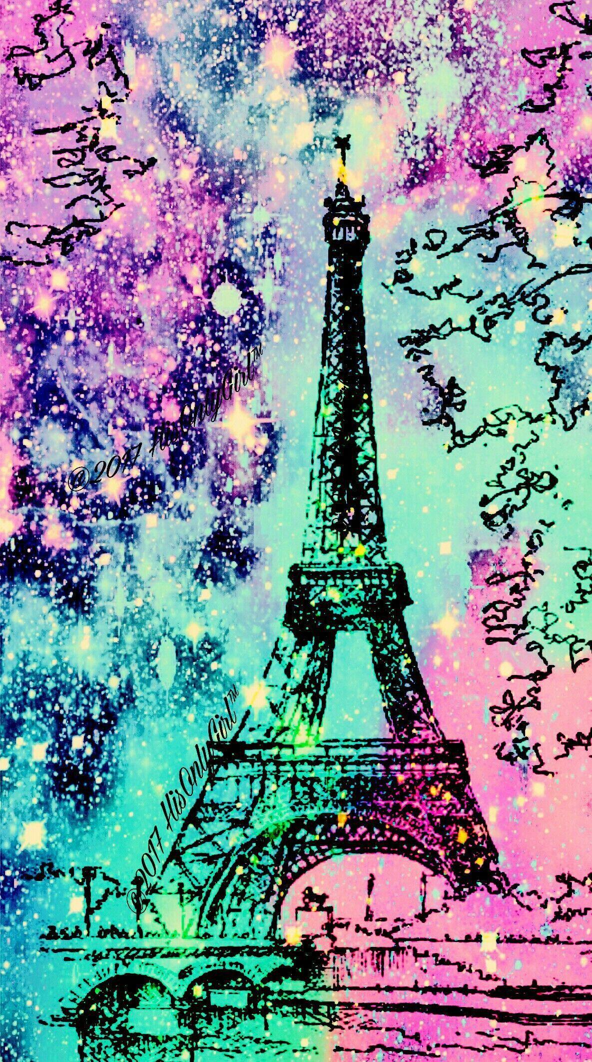 Eiffel Tower Galaxy Wallpaper I Created For The App Cocoppa Pariswallpaper Paris Wallpaper Eiffel Tower Galaxy Wallpaper