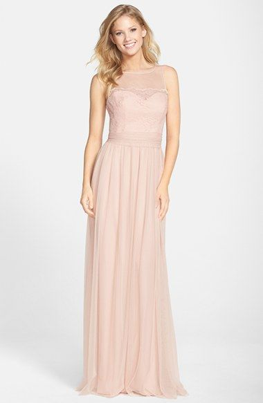 Blush Bridesmaid Dresses By Am With Illusion Necklines At Nordstrom Featured On Dress For The Wedding