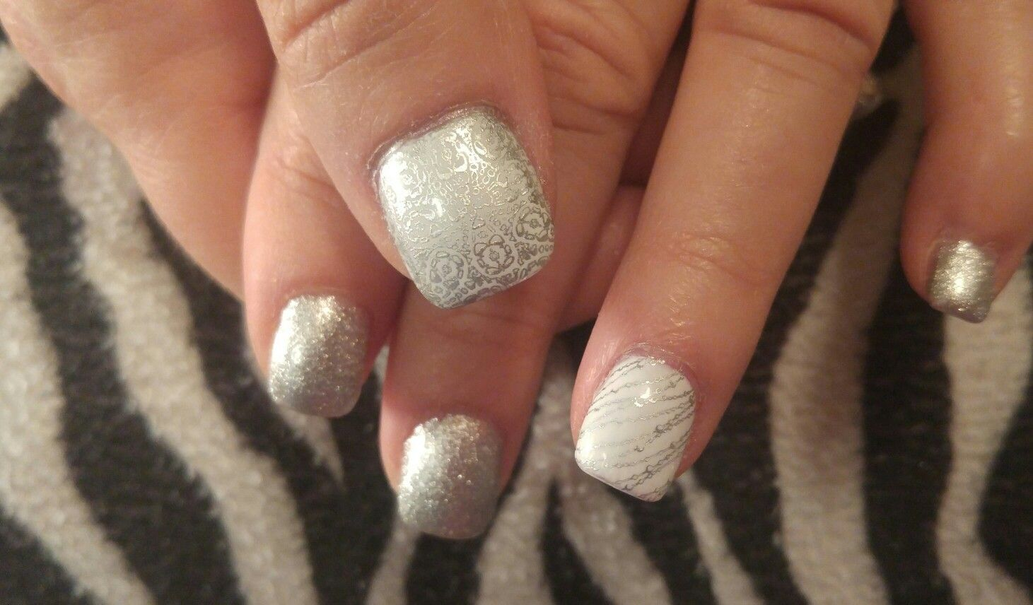 New Year\'s Eve nail design! Acrylic nails with stamped nail art on ...