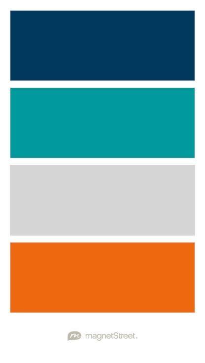 Navy Teal Silver And Orange Wedding Color Palette Custom Color