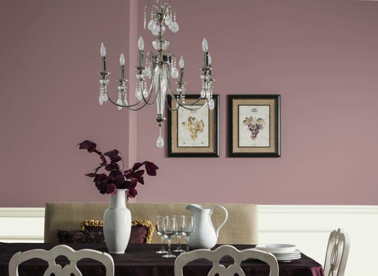 Beau Farbe Mauve Esszimmer Rauchig Farbe Wand Kronleuchter