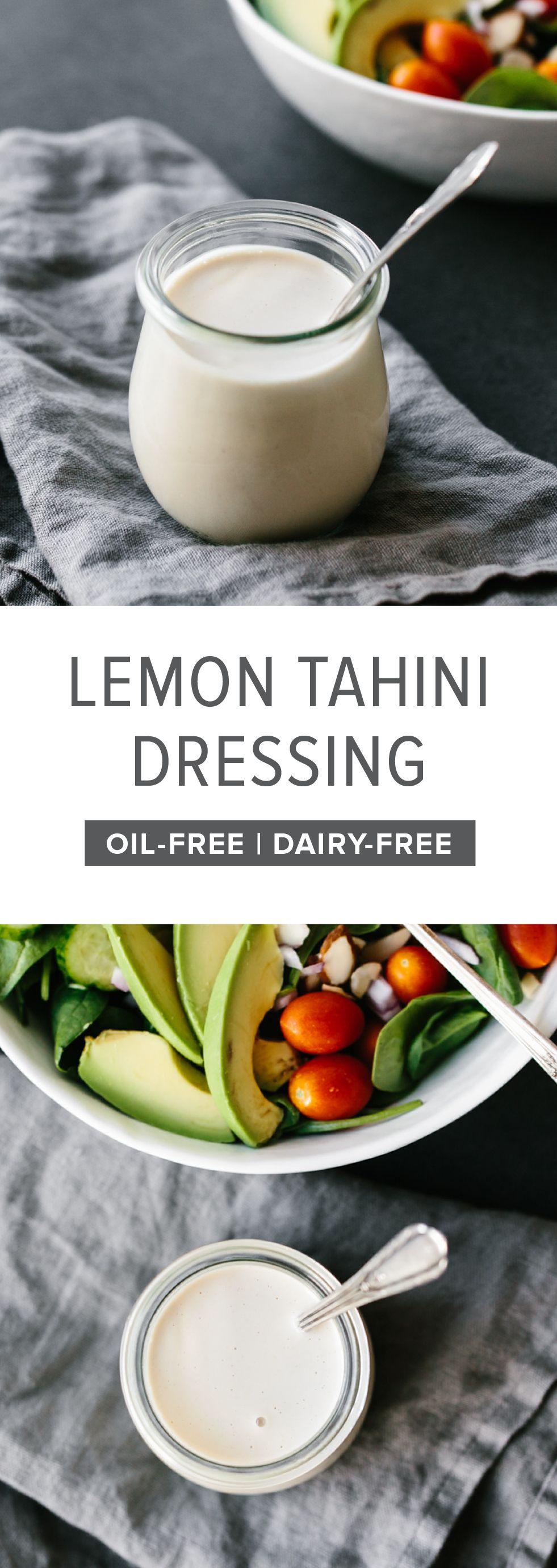 This lemon tahini dressing is oilfree, dairyfree and