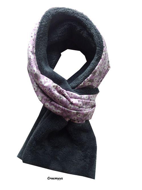 Echarpe liberty mitsi parme doublée polaire grise   Echarpe, foulard,  cravate par crocmyys e7c50fdcb99