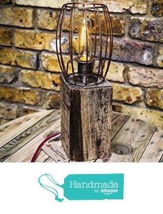 Table lamp handmade from reclaimed wood with vintage bulb and copper table lamp handmade from reclaimed wood with vintage bulb and copper wire cage from mooboo home greentooth Choice Image