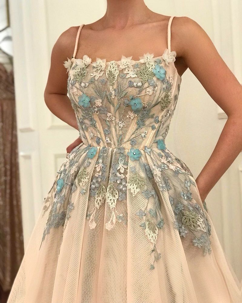 28 Prom Dresses That Will Make You The Prom Queen - Spaghetti straps nude ball gown dress , Prom dress #promdress #bluedress