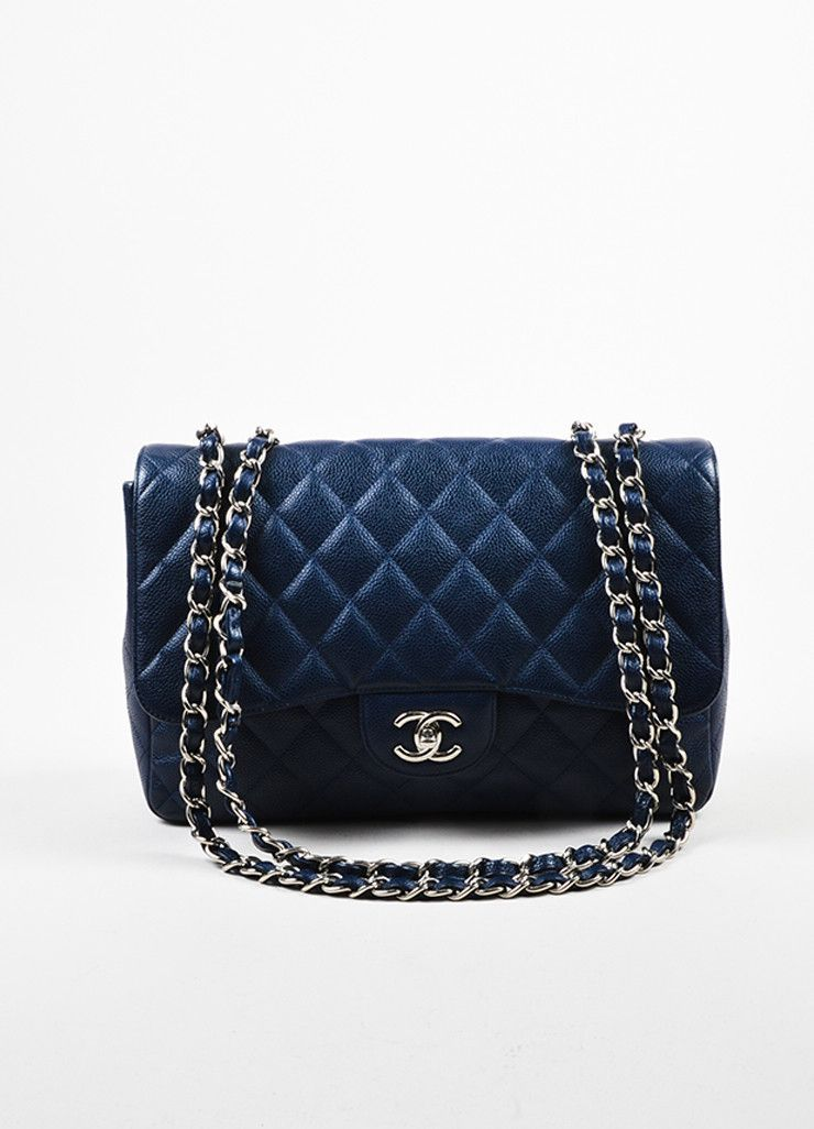 9984df399b2f Navy Chanel Caviar Leather Quilted Jumbo