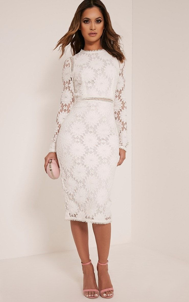 6d683d9d90ad White Long Sleeve Lace Bodycon Dress Your'e officially invited to the after  party in this lacy l.