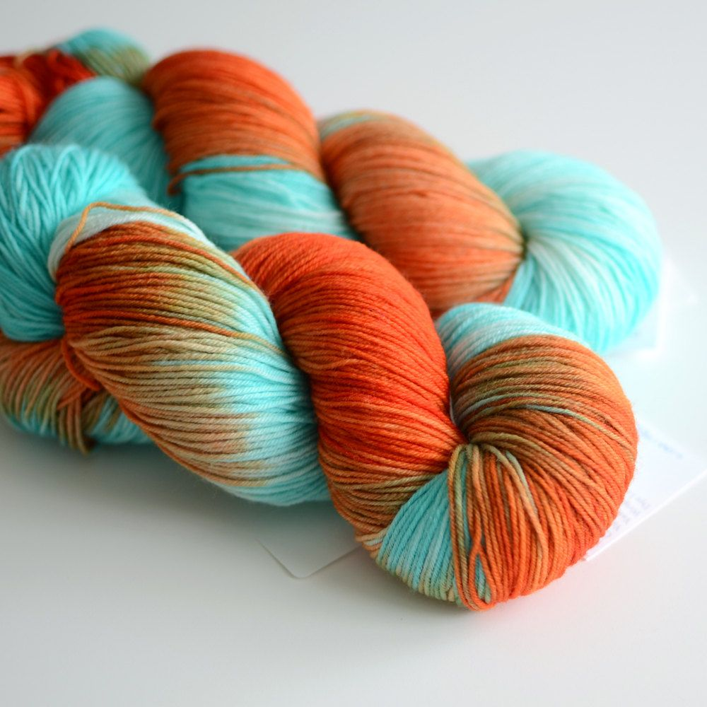 Sun Also Rises Hand Dyed Sock Yarn Self Striping Yarn Superwash Merino Wool Orange And Turquoise Yarn Hand Dyed Sock Yarn Turquoise Yarn Knitting Yarn
