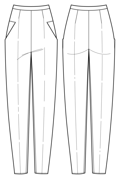 Long, tapered, 1920's inspired trousers flat drawing by