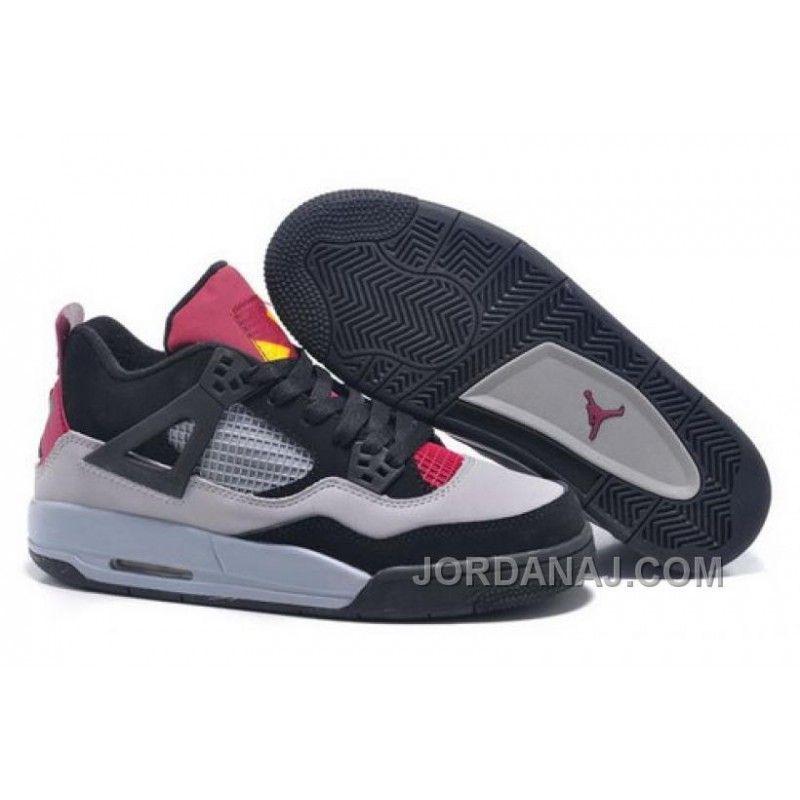 Nike Air Jordan 4 Retro Red Iv Gs 7lab4 Mens Shoes Gray Black Purple Yellow