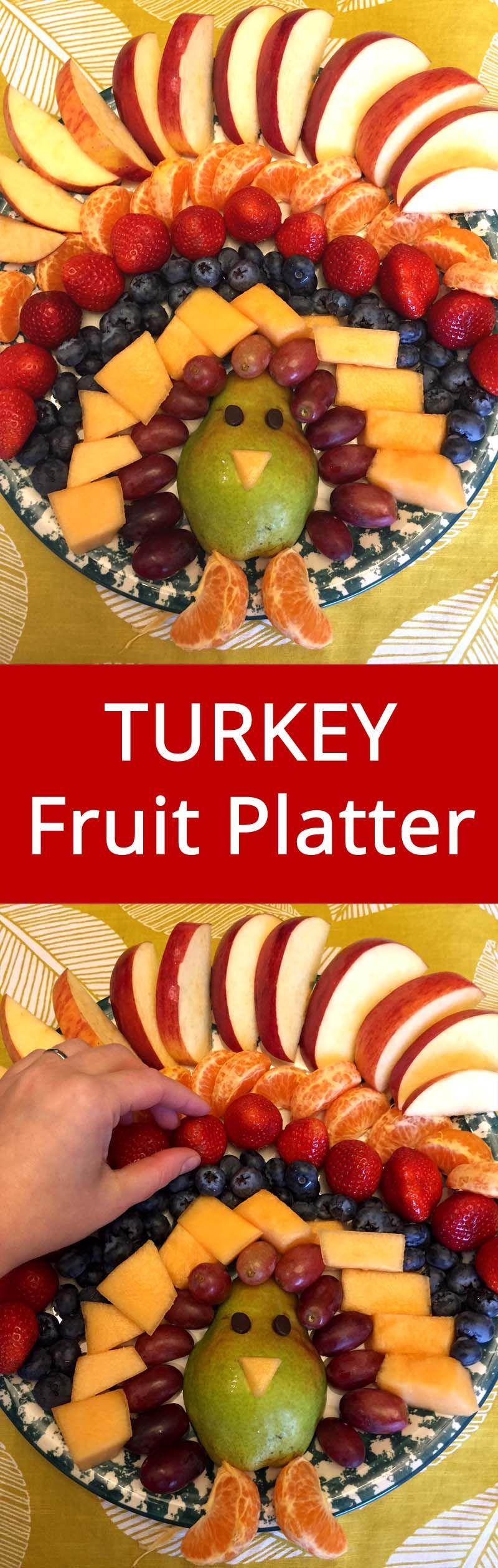 Thanksgiving Turkey-Shaped Fruit Platter Appetizer #thanksgivingrecipes