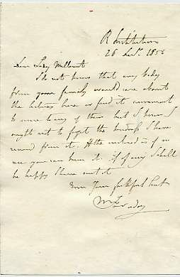 Letter from Michael Faraday to Lady Millicent B J 1856 - sending tickets to the Royal Institution Lectures.