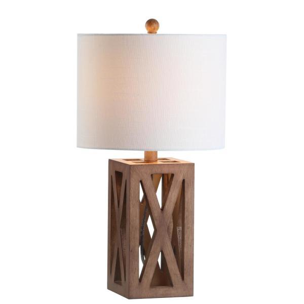 JONATHAN Y Stewart 21.5 in. Brown Wood LED Table Lamp