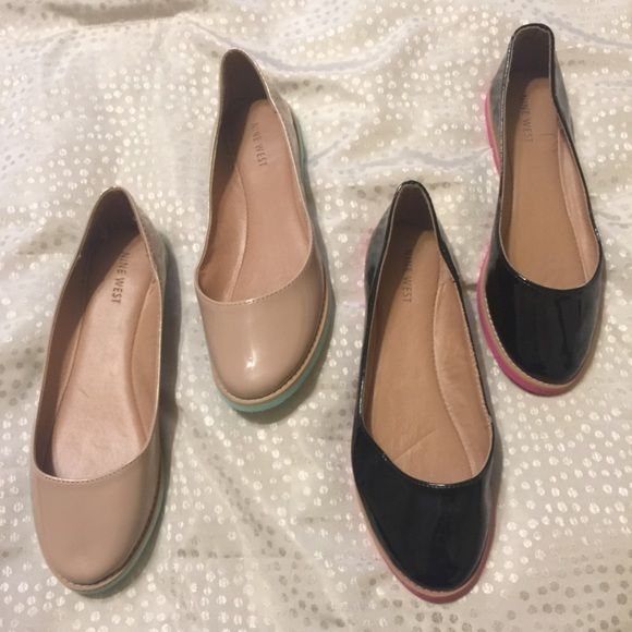 Nine West Patent Flats Cute Black and Tan patent shoes.  One pair has never been worn, and the other only a handful of times. Nine West Shoes Flats & Loafers
