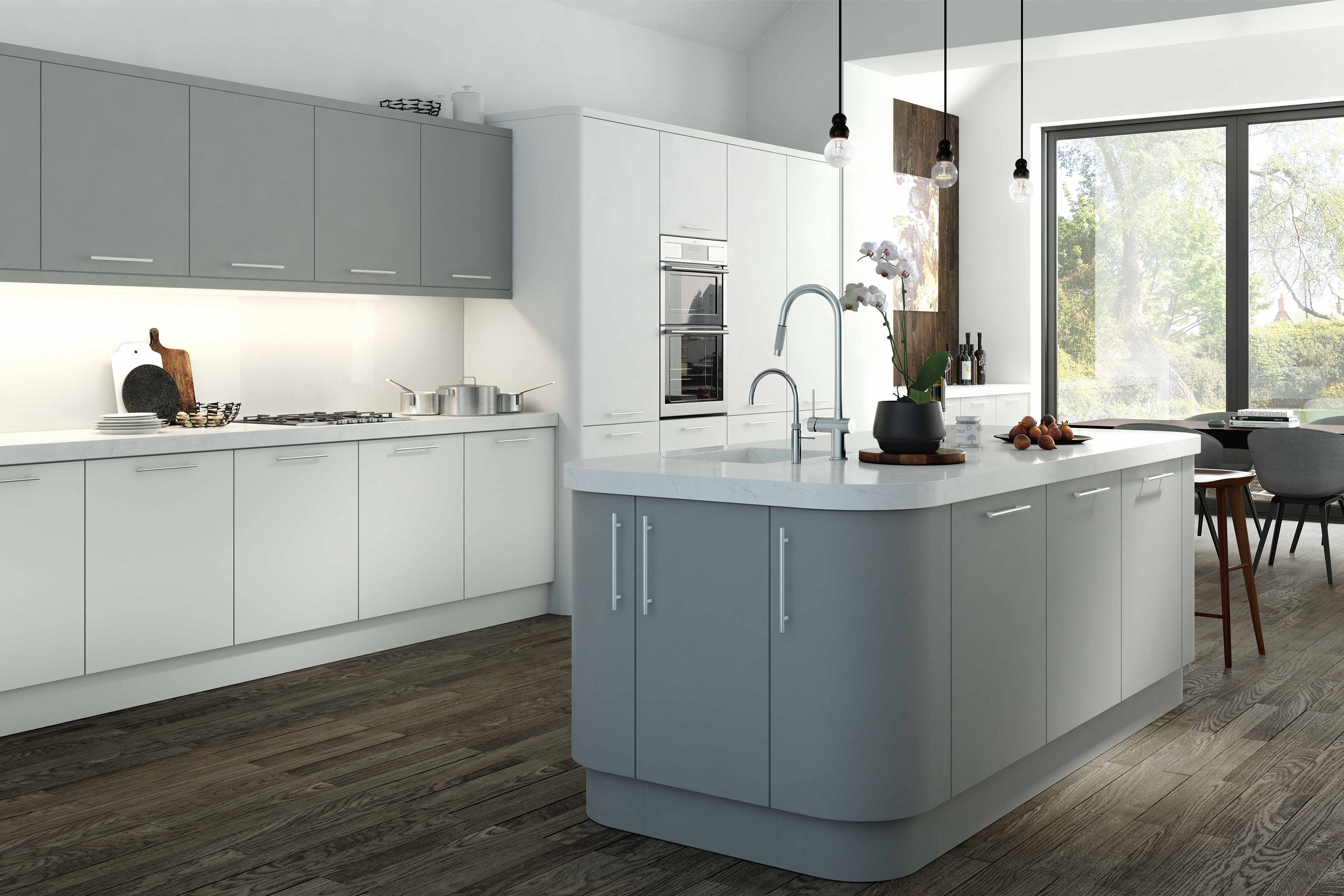 Modern kitchen with matt grey and white doors and island featuring ...