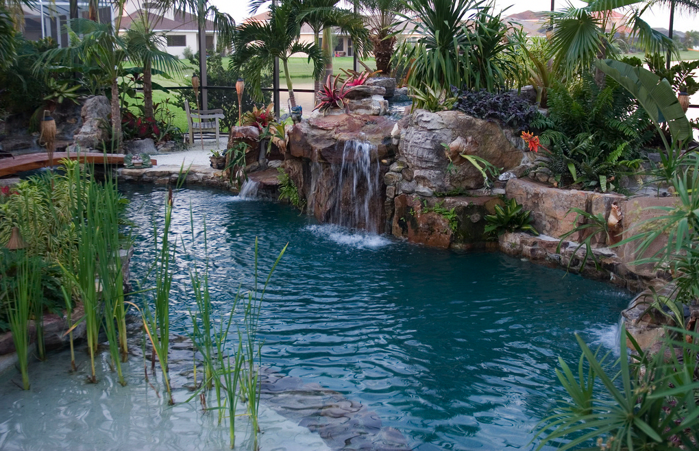 Waterfall And Sand Beach Poollandscapingideas Lagoon Pool Pool
