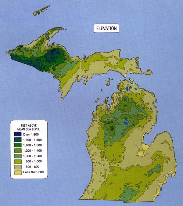 Michigan Topographic Maps Relief | Maps | Map of michigan, Topographic map, Map