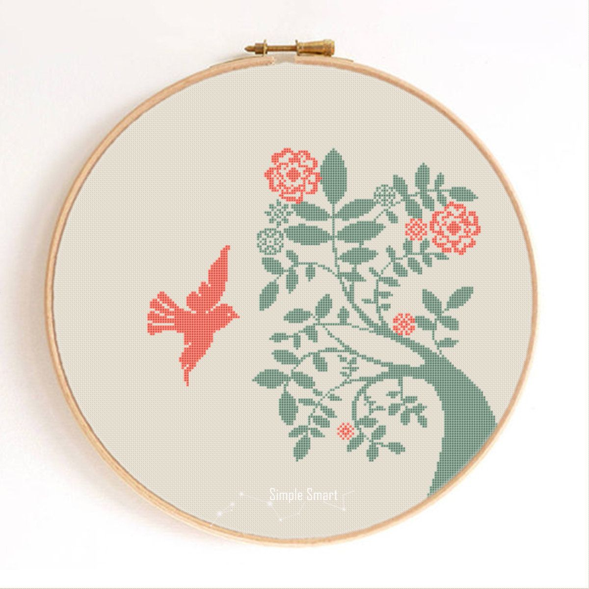 Dove and Tree Bird Silhouette Counted Cross Stitch Pattern Instant Download Abstract #birdfabric