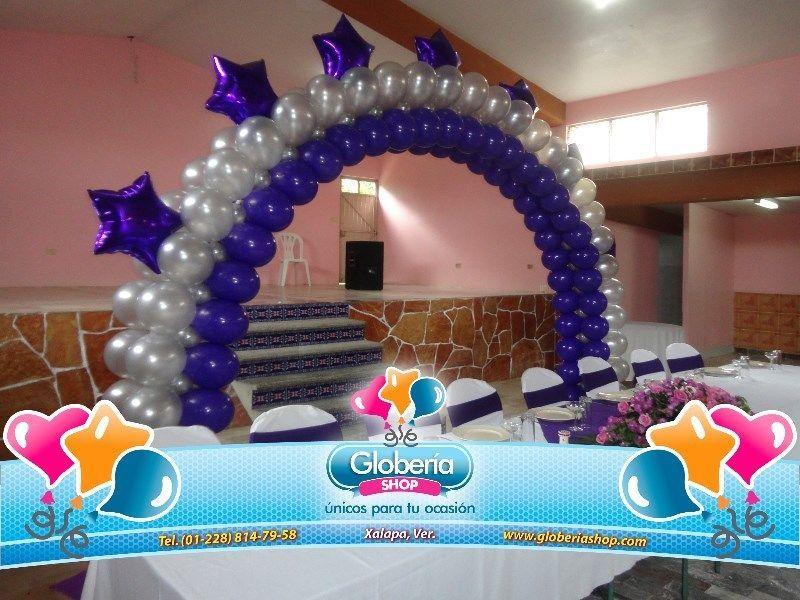Decoraciones con globos para fiests de xv a os en color for Decoracion con globos 50 anos