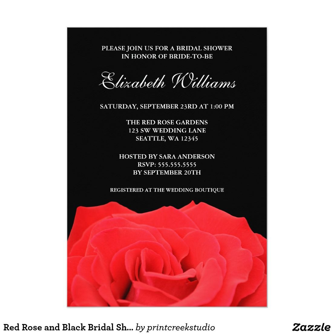 Red Rose and Black Bridal Shower Invitation | Pinterest | Bridal ...