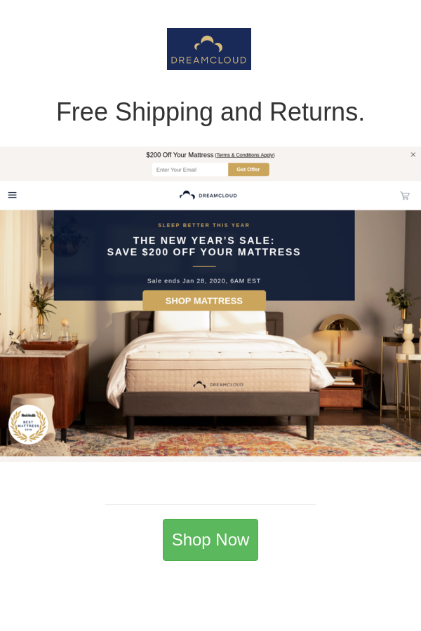 Free Shipping And Returns In 2020 Mattress Sales Mattress Shop New Years Sales