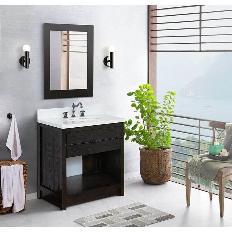 Photo of Bellaterra Home 31″ Single Vanity In Brown Ash Finish With White Quartz Top And Oval Sink