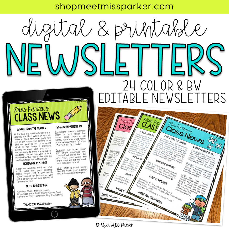 Newsletter Templates Editable Digital  Printable  Newsletter