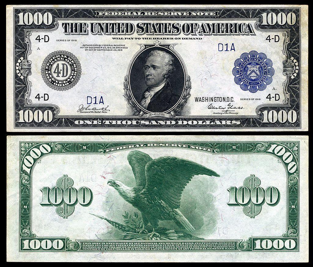 1 000 1918 Alexander Hamilton Billete De 500 Euros Historia De La Moneda Dolares Billetes