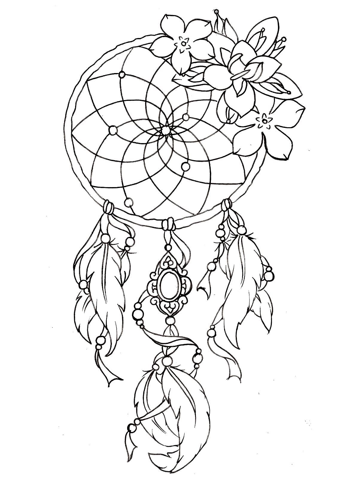 To print this free coloring page «coloring-dreamcatcher-tattoo ...