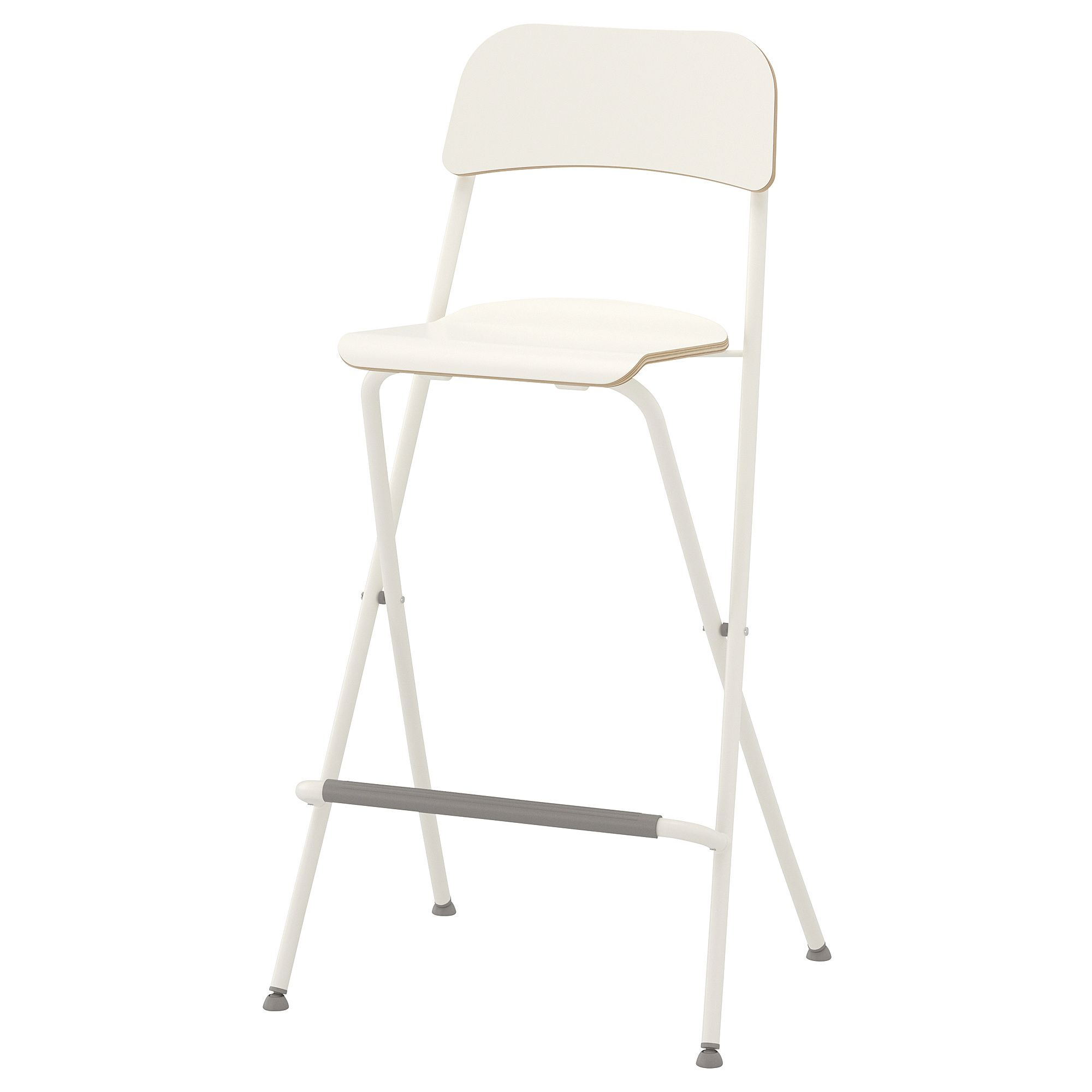 Ikea Franklin White White Bar Stool With Backrest Foldable Bar