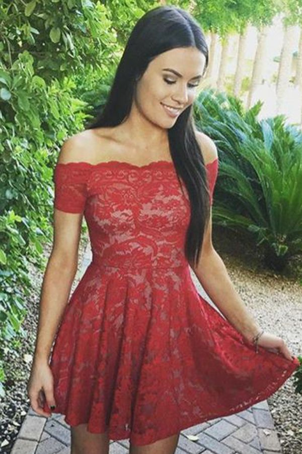 b0deab5a9c red off shoulder homecoming dresses, short lace party dresses, cheap  fashion dresses, simple dresses, semi formal dresses.