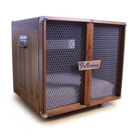 Custom Dog Kennel Inspired by Vintage Guitar Amp - Fullertone Custom Kennel/Dog Bed/Pet Furniture #vintageguitars Give your best friend(s) a house that rocks as much as they do! The Fullertone pet kennel was inspired by the look of vintage guitar amplifiers and adds a retro rockin' style to any room. Far more than a dog house, the Fullertone is a high-quality piece of custom furniture. Each Fullertone kennel is hand made from the best materials available. It can be customized with various size #vintageguitars