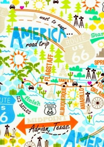 America Road Trip Modern USA Map Quilt Fabric Rt 66 12 Yard
