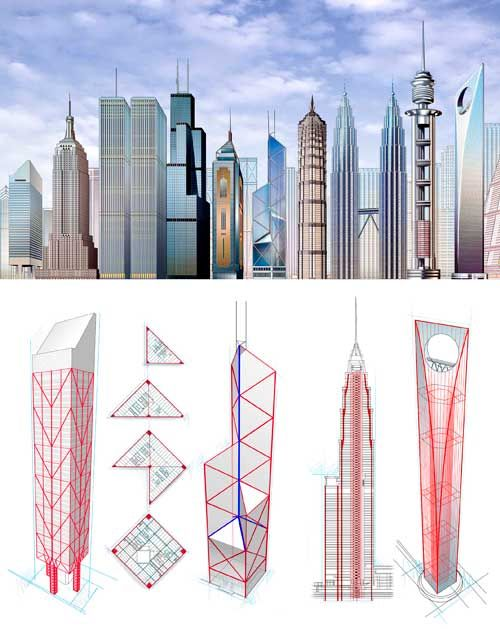 Architectural Drawings Of Skyscrapers skyscraper comparative size infographic. infographic illustration