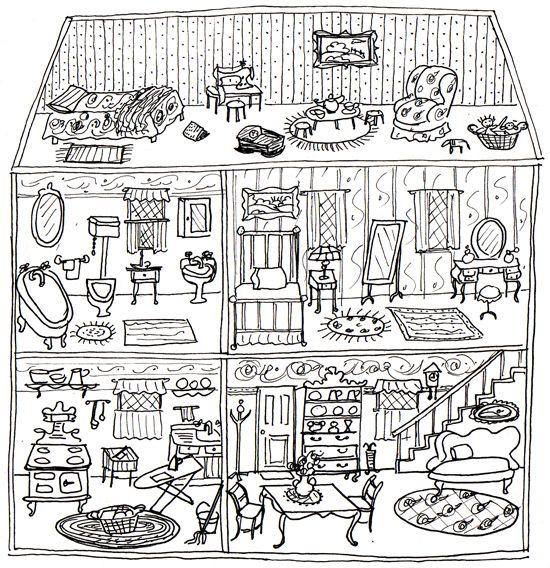 Printable Dollhouse From Ann Wood Handmade Coloring Pages Coloring Book Pages House Colouring Pages