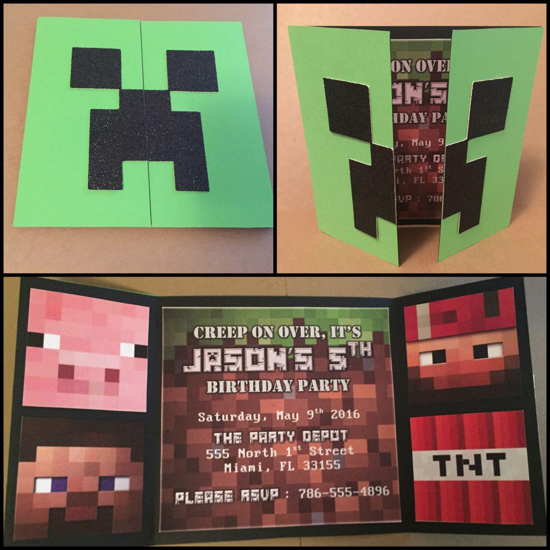 Pin De Pam Gr En Cumples Minecraft Invitations