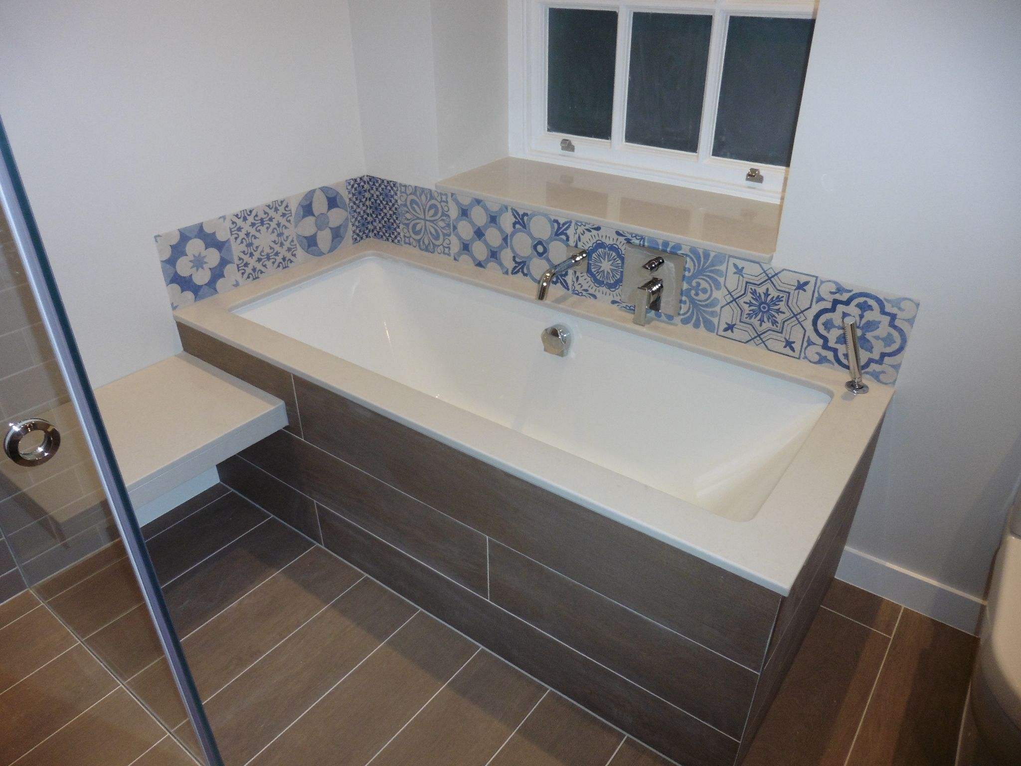 We Inherited This Square Bath But Shows Stone Surround And Taps