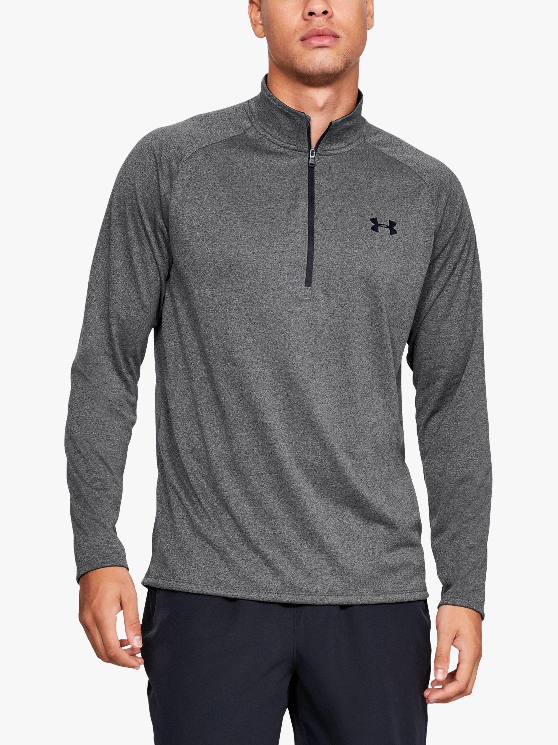 Grey Under Armour Half Zip Mens Long Sleeve Training Top