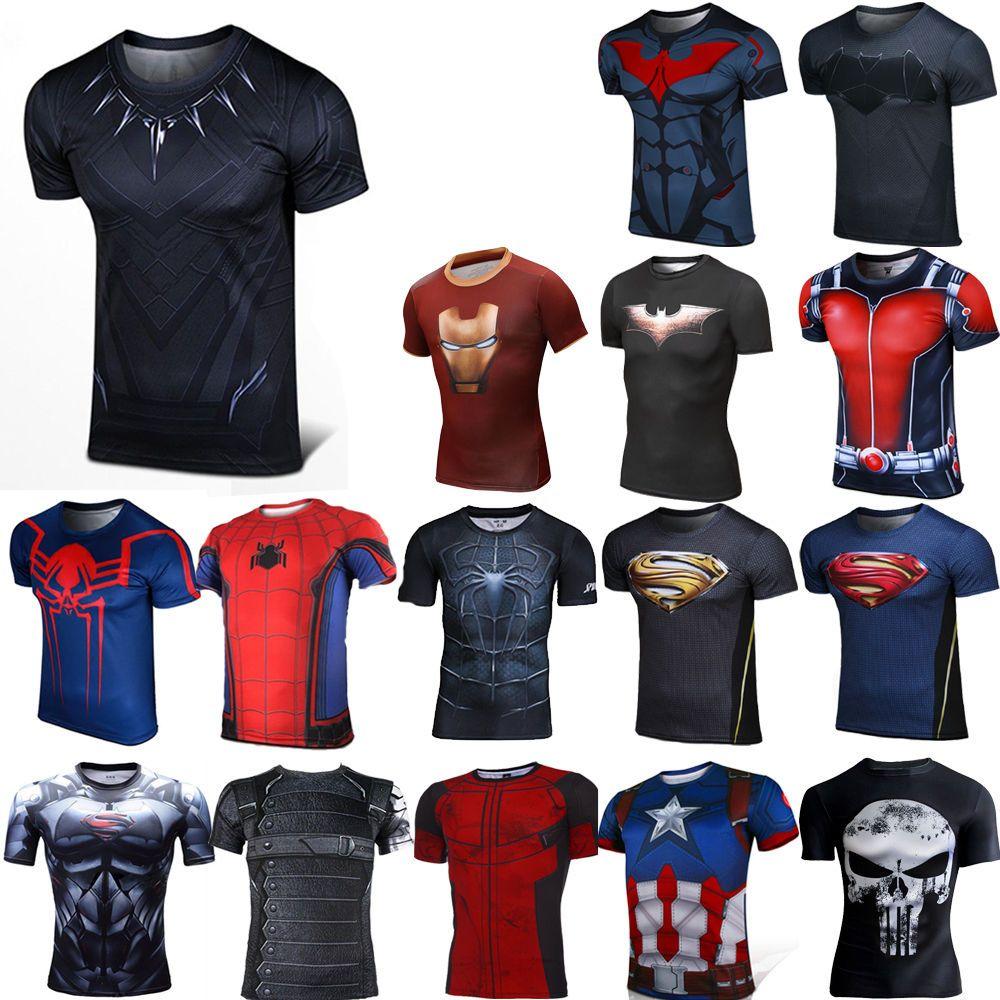 Marvel Comic Superhéroe Compresión Camiseta Deporte Gimnasio Jersey Hombre  Corta  09285624ff4df