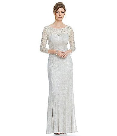 Cachet Illusion Caviar Cowl Back Gown #Dillards | Wedding dress ...