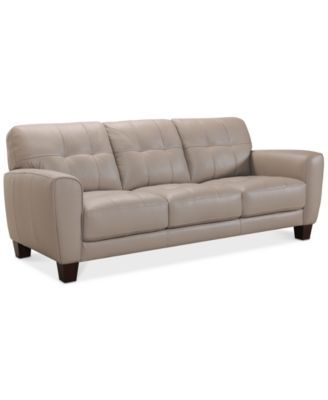 Kaleb 84 Tufted Leather Sofa Created For Macy S Couches