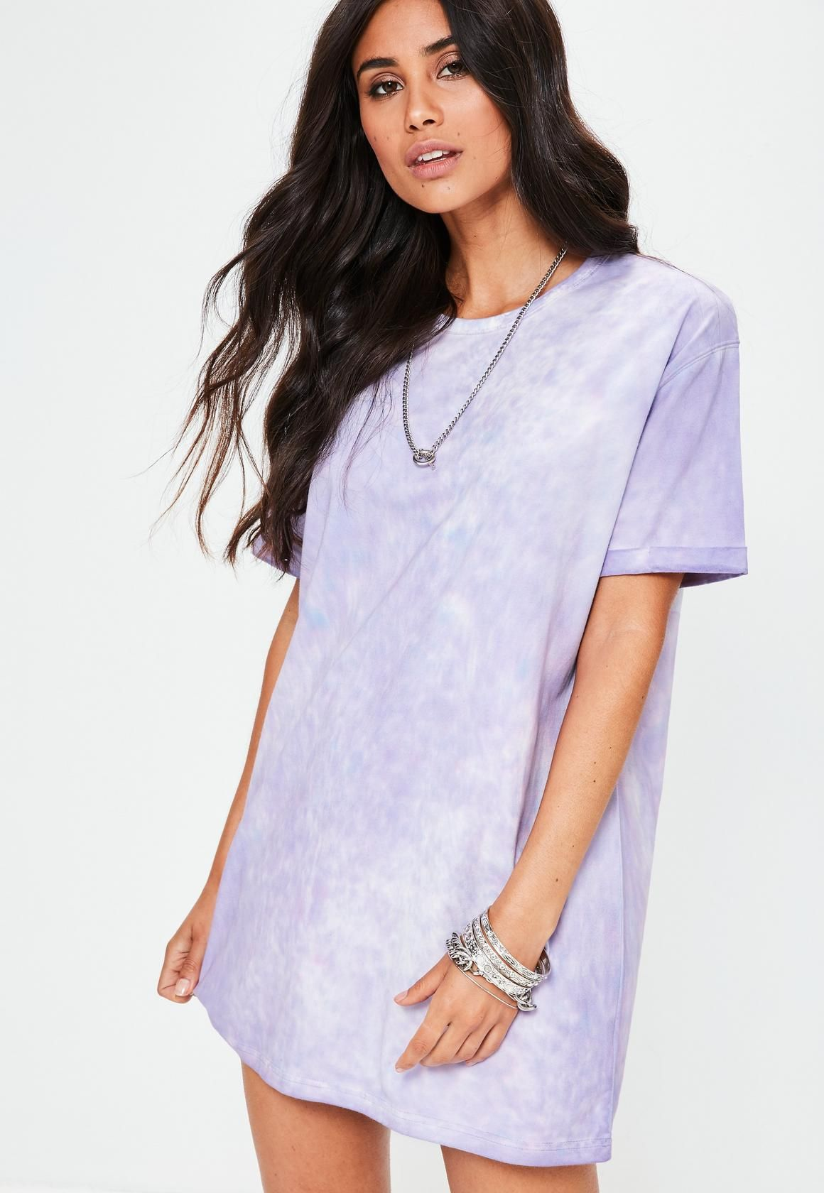 3ba1e6016df Petite Purple Tie Dye Oversized T-Shirt Dress - Missguided