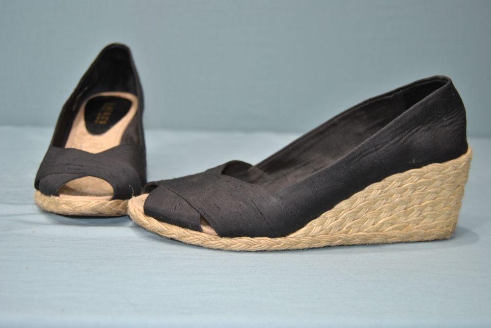 ce860bf5f9c Silk Black wedge Heel Lauren Ralph Lauren Cecilia Shantung ...