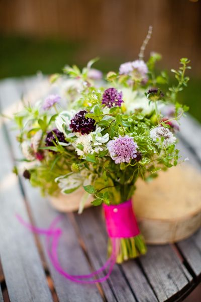 Beautiful garden bouquet of dahlias queen annes lace scabiosa