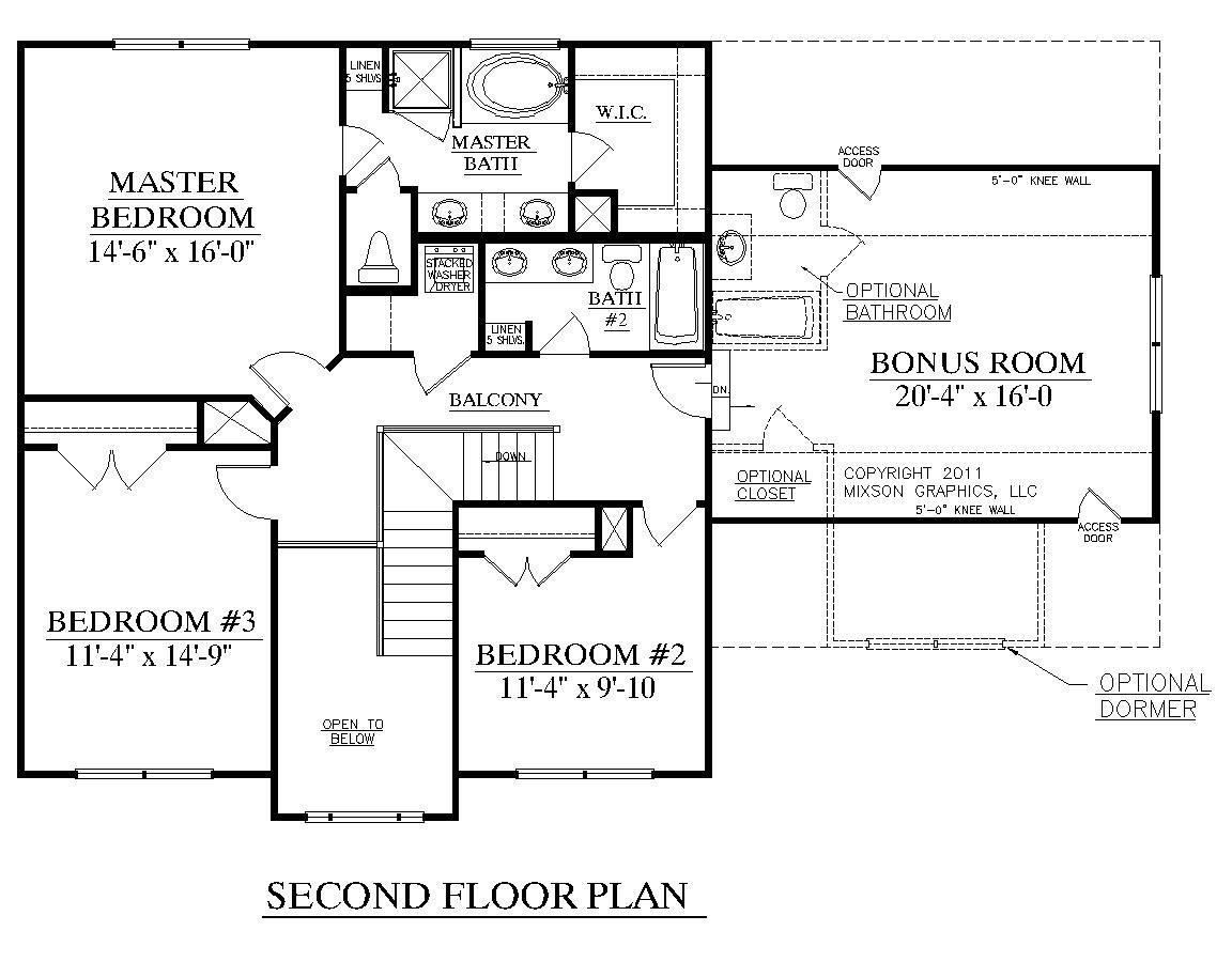 2nd Floor Plans Part - 16: House Plan 2168-A CEDAR CREEK 2ND FLOOR - 2168 Square Feet 52u0027-