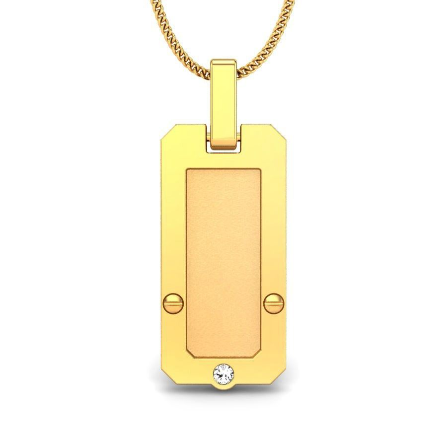 Connor heavy gold diamond pendant with a single tiny diamond