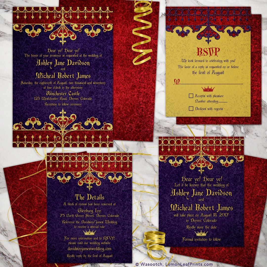 Purple red and gold medieval or renaissance royal wedding invitation ...