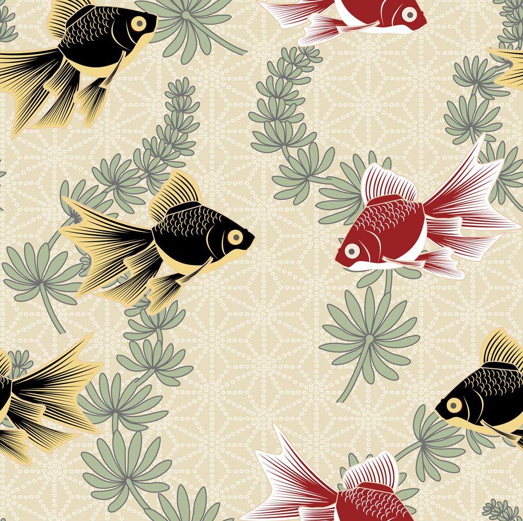 フリーイラスト素材 イラスト 背景 動物 生き物 魚 サカナ 金魚 キンギョ Eps Id 201410271300 Printing On Fabric Wall Art Prints Vintage Japanese